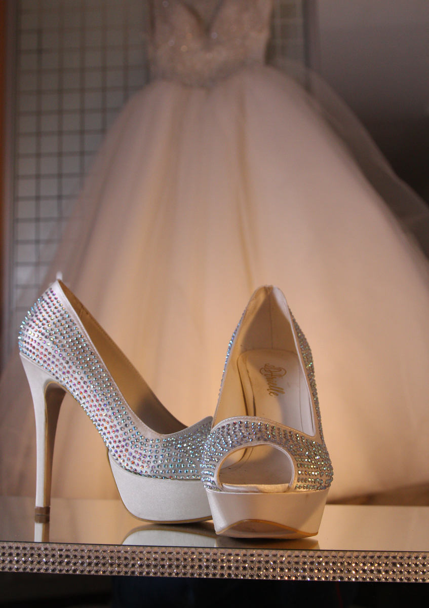 Wedding shoes & gown